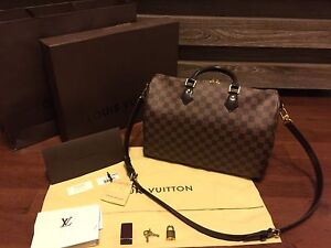 Authentic Louis Vuitton Speedy Bandoulier 35 Damier Ebene