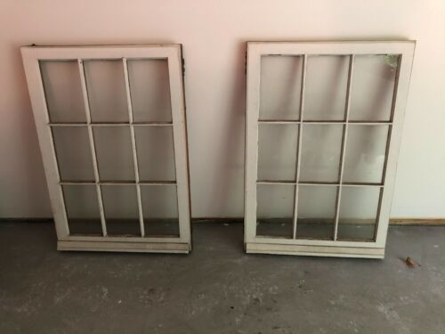 2 - 34 x 24 Vintage Windows Old Casement 9 Pane From 1927 Arts & Crafts