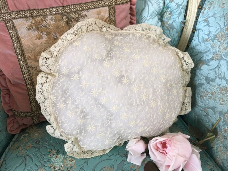 Antique French Tambour Lace Pillow Case Cotton Netting Floral Needlework #12