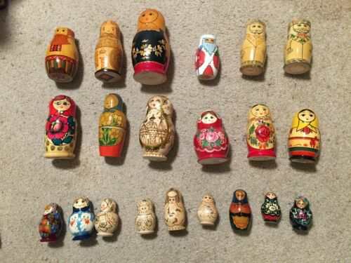 Individual Matryoshka USSR Russian Vintage Hand Painted Genuine Nesting Dolls