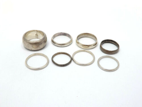 LOT of 8 Sterling Silver Plain Band Rings, 32.1g