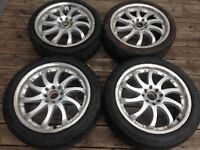 """17"""" silver rim/tire lipped set (staggered), $399 4x100, 4x114.3"""
