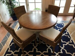 "CRATE & BARREL 42"" round pedestal table with 4 chairs"