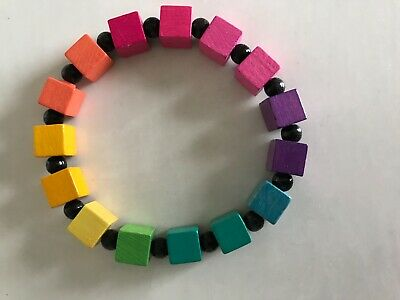 Carolyn Forsman Conversation Piece Jewelry Wood Rainbow Block Bracelet
