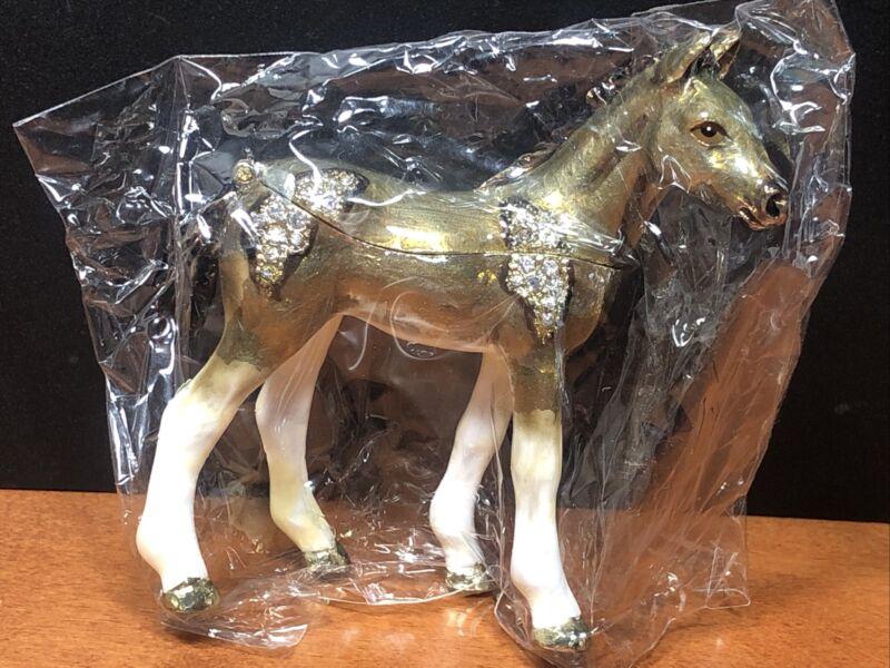 "Horse Jewelry Trinket Box Metal Enameled Figurine Crystal Gold 3"" H New"