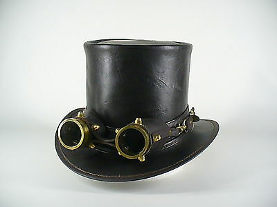 GENUINE AUSTRALIAN LEATHER VINTAGE LOOK BROWN LEATHER STEAMPUNK HAT W. GOGGLES
