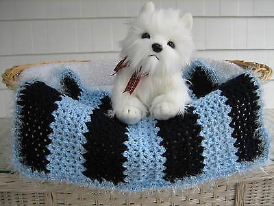 Fancy Dog Cat Bed Blanket Light Blue and Navy Stripe w/ Light Blue Faux Fur Trim