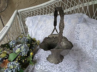 Antique  Repousse -EG Webster & Son Silverplate Bridal Wedding Basket 1800-1849