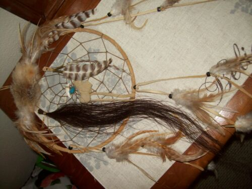 Native American Indian Dream Catcher Handmade Fur Horse Hair Tooth Turquois
