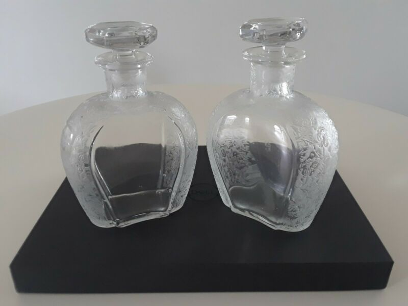 Vintage Scotch and Rye etched decanters