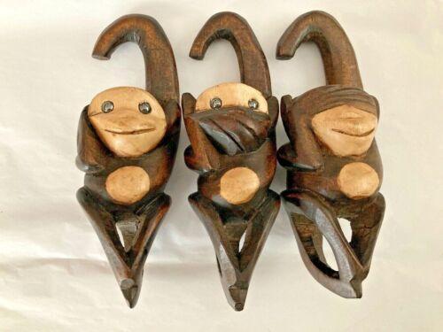 Vintage See, Hear, Speak No Evil Monkeys Set Carved Wooden Hanging Interocking