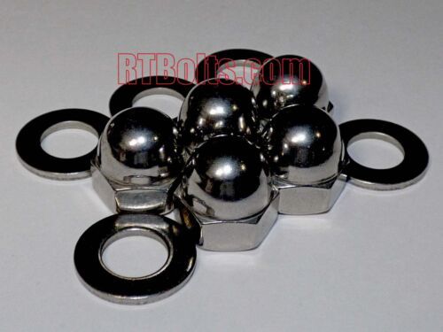 """(5) Acorn Cap Nuts 3/8""""-16 Safety, Show, Dome, Hex, Stainless Steel, UNC Thread"""
