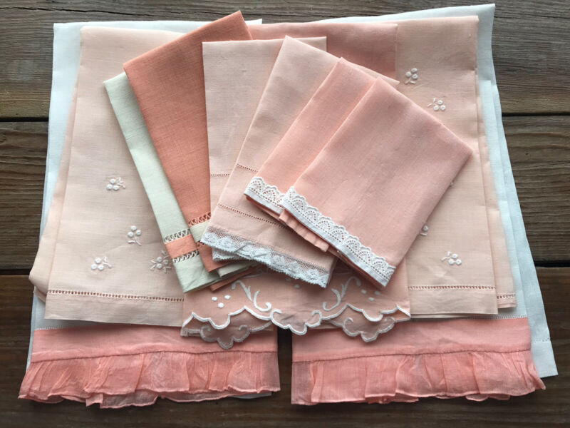 A+ Lot 11 Vintage Linen Guest Hand Fingertip Towels Peach White Lace Embroidery