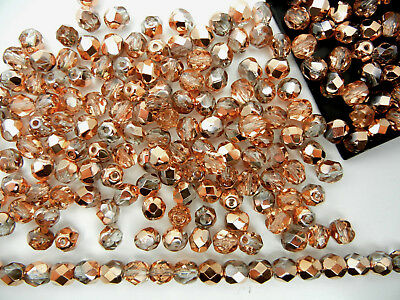 300 Preciosa Czech Glass Fire Polished Round Beads 6mm Crystal Capri Gold coated Glass Beads 6mm Crystal