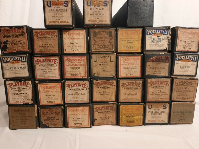 Vintage Lot Of 31 Player Piano Rolls, Playrite, Vocalstyle, Supertone, Etc.