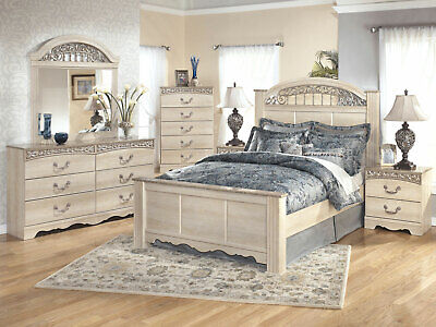Traditional Cottage White 5 piece Bedroom Set with King Size Poster Bed (Bedroom Country Poster Bed)