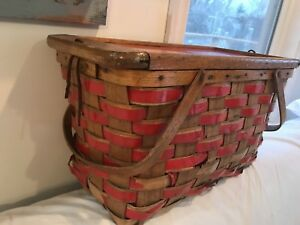 Vintage 1930's wooden picnic basket with red vinyl accents