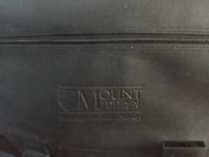 Black leather MSVU messenger bag