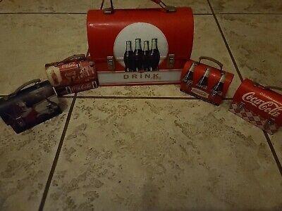 5 Lot Vintage Rare - Coca-Cola Tin Collectible Metal Tin Lunch Boxes rare
