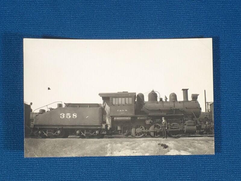 Chicago & North Western Railway Train Engine Locomotive No. 358 Antique Photo