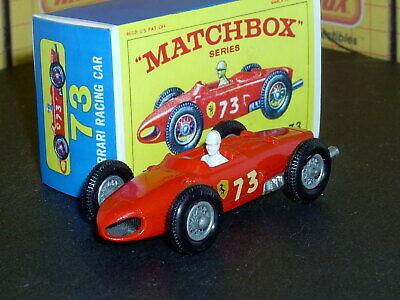 Matchbox Lesney Ferrari Racing Car 73 b2 orig white drivr SC3 VNM crafted box