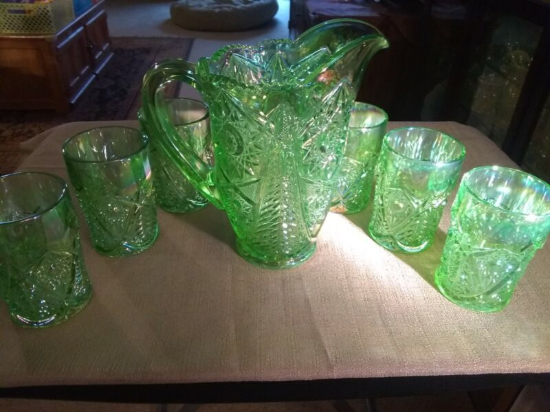 VINTAGE ICE GREEN IRIDESCENT 7-PIECE PITCHER SET - MARKED WITH (S) ON TUMBLERS