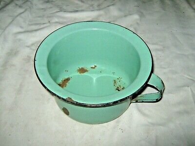 An Old Australian Green Enamel Metal Under Bed Night Chamber Pot with Chipping