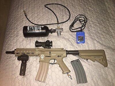 Custom G&G gas powered airsoft rifle valken v12 engine with tank and regulator