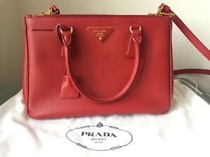 Authentic Prada Saffiano Tote in Red