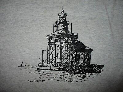 TOLEDO HARBOR LIGHT T SHIRT vtg 90s Lake Erie Lighthouse Nautical Boating Medium