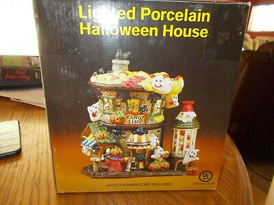 LIGHTED PORCELAIN HALLOWEEN HOUSE (CANDY SHOP) 3 FT. CORD ()