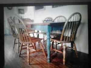 harvest table with 6 windsor chair's Peterborough Peterborough Area image 1