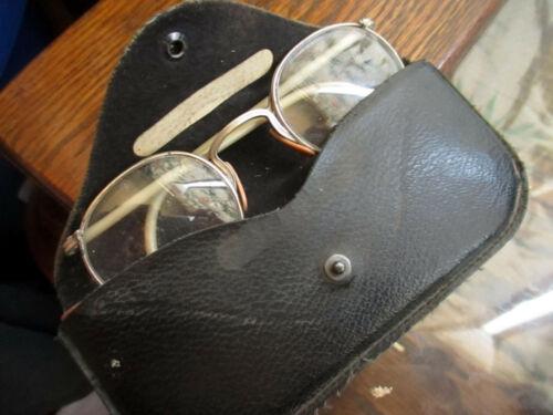 Vtg American Optical Safety Goggles/Glasses w/ LEATHER ORIGINAL AO Case frames