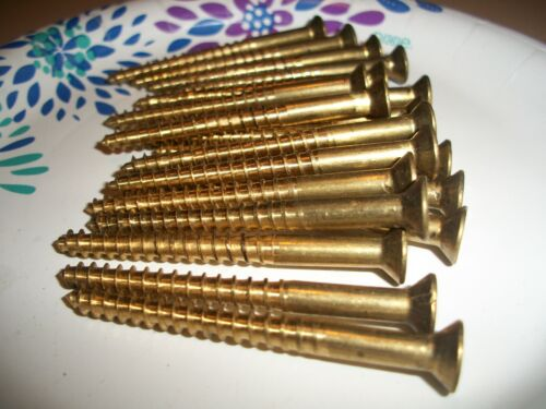 """20  VINTAGE SOLID BRASS WOOD SCREWS WITH THE FLAT PHILLIPS HEAD, 2 1/2"""" X #12"""