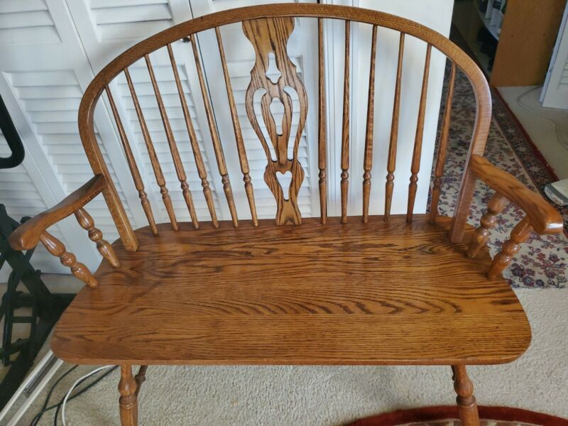 DINAIRE FURNITURE ENGLISH STYLE SOLID OAK DEACONS BENCH