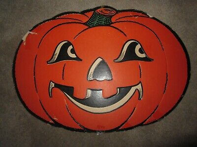 Vtg Halloween paper die cut party decoration orange jack o lantern, 1940s - Halloween Die Cut