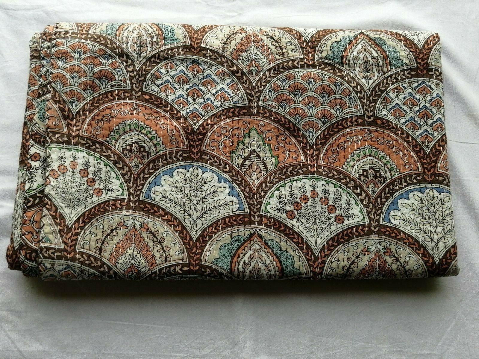 rainbow green bedspread floral handblock kantha quilt