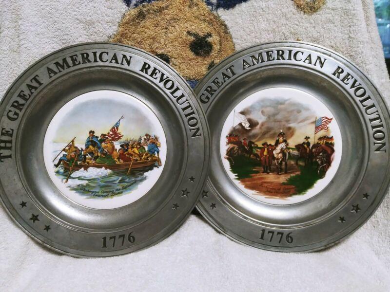 Great American Revolution 1776 Pewter 2 Commemorative Plates 1973 Canton Ohio