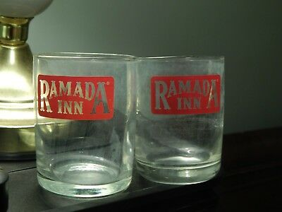 Ramada Inn [LOT of 2] Mini Bar ~Drinking Glasses~ Ltd Promo Vtg Hotel Resort