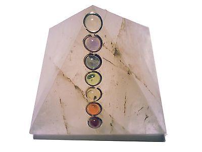 7 Chakra Bergkristall Edelstein Pyramide B-WARE