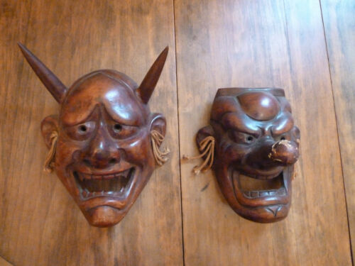 2 Antique Japanese Carved Wood with Gesso Masks: Tengu and Hannya Devil Mask