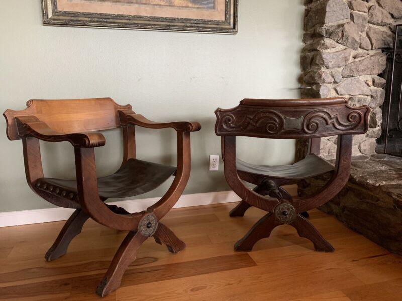 Vintage Pair Of Savonarola Chairs Dante Style  Carved Wood