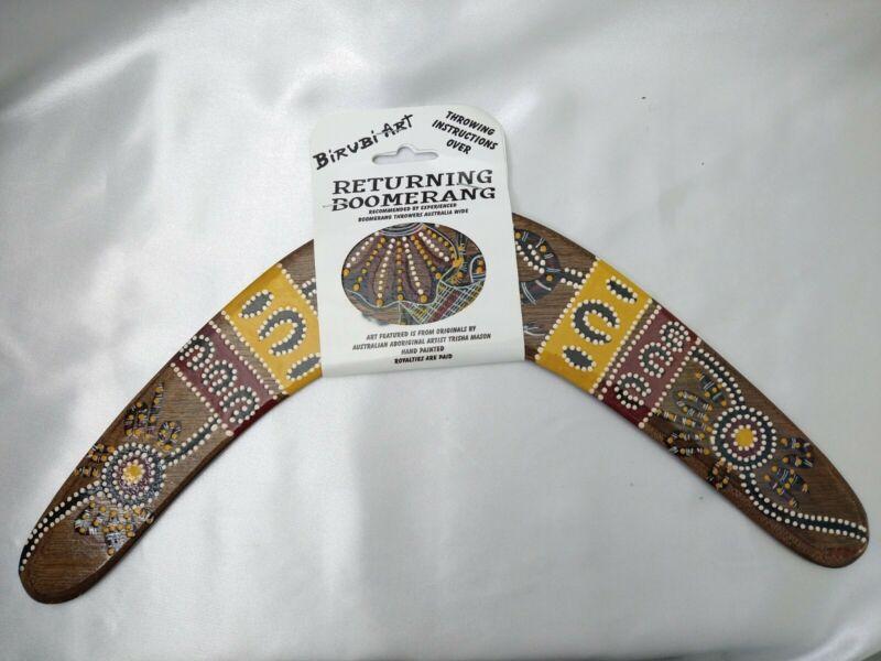 "Wood Hand Painted Boomerang - Birubi Art Trisha Mason - Australian Decor 14"""