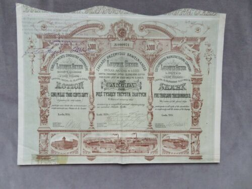1926 Share Poland Lodz ZAKLADY PRZEMYSLU TEKSTYLNEGO Ludwik Geyer Cotton 5300 zl
