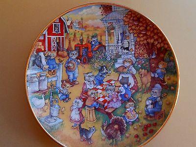 """Franklin Mint Bill Bell """"A Purrfect Feast"""" Cat Plate Porcelain Thanksgiving"""