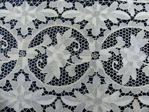 "Antique Italian POINT DE VENISE RETICELLA needle lace runner  48"" x 15"""