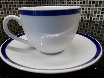 Set of TWO - 2 - NEW Williams Sonoma BRASSERIE BLUE Cup Mug & Saucer