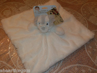 BLANKET BEYOND SECURITY DOG PUP WHITE FUR PALE GRAY ON HEAD EARS NOSE NO RATTLE