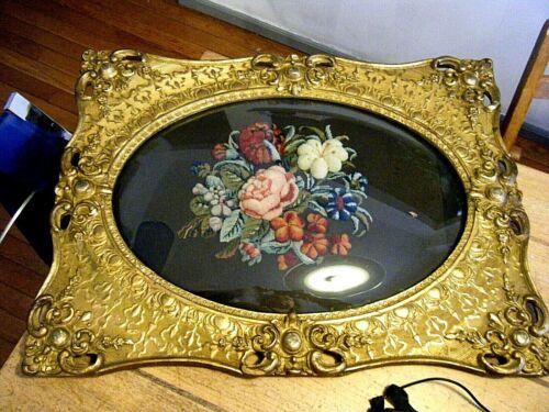 18th C Victorian Plush Stumpwork Floral Needlepoint Gilt Wood Frame Convex Glass