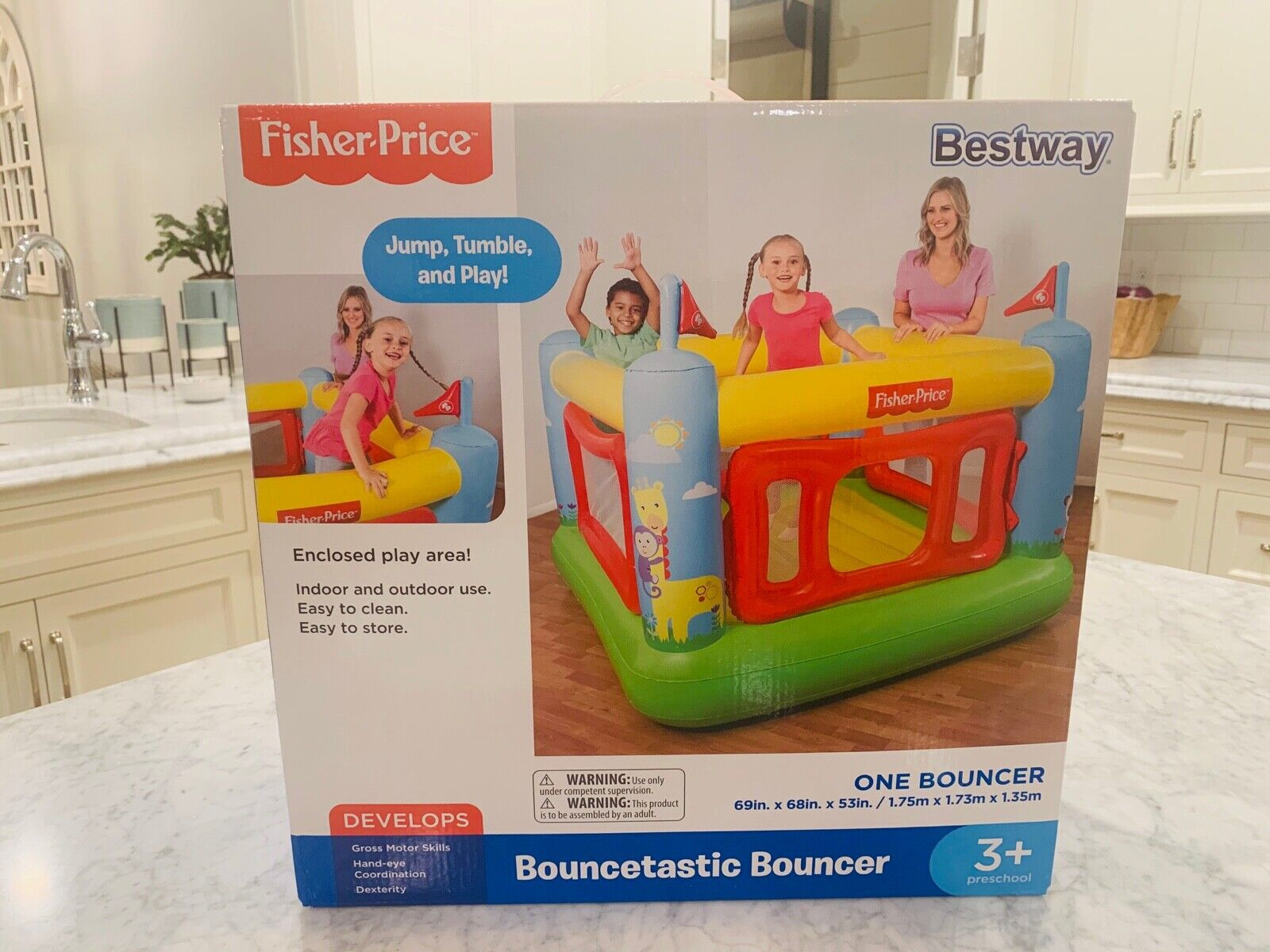 Fisher-Price Kids Bouncetastic Bouncer Indoor Inflatable Bou